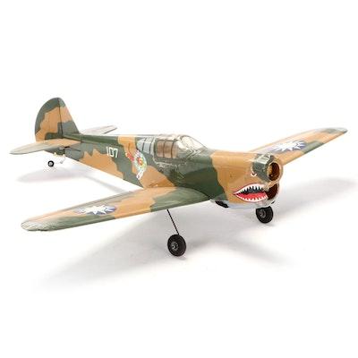 "WWII Era Curtiss P-40 War Hawk ""Flying Tiger"" Model Plane, Late 20th C."