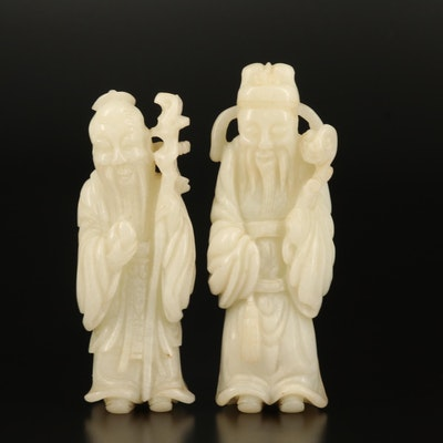 Chinese Carved Jade Figures of the Deities Shou Xing and Lu Xing