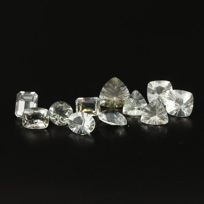Loose 33.13 CTW Faceted Prasiolite Featuring Two Matched Pairs