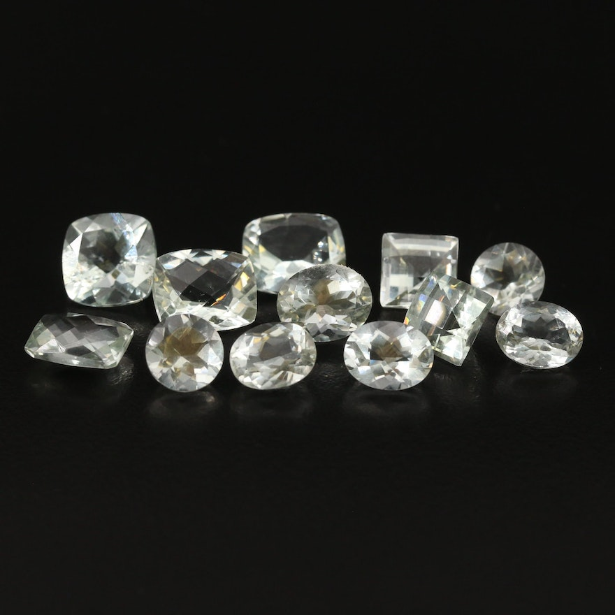Loose 30.89 CTW Faceted Prasiolite Featuring Two Matched Pairs