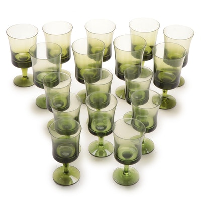 Olive Green Goblets and Wine Glasses, Mid to Late 20th Century