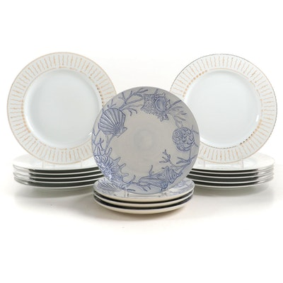 "Pottery Barn ""Nile"" Dinner Plates with Ceramic ""Blue Shell"" Luncheon Plates"