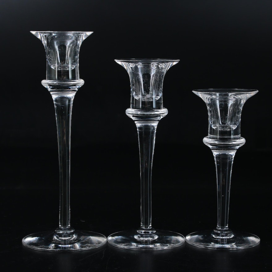 "Dartington ""Lucinda"" Crystal Candlesticks"