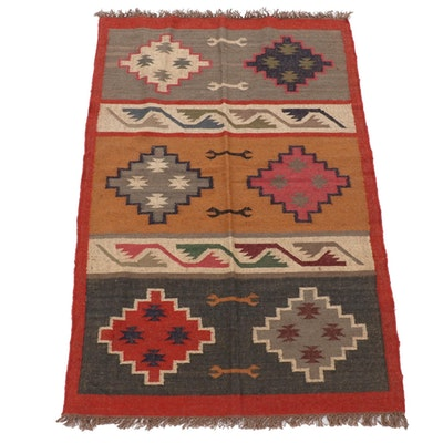 3'11 x 6'4 Handwoven Indo-Turkish Kilim Area Rug
