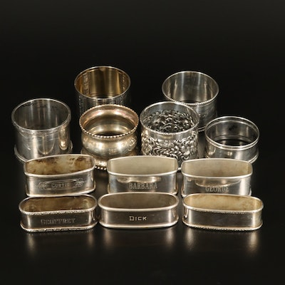 Webster, Lunt and Other Sterling Silver and 800 Silver Napkin Ring Collection