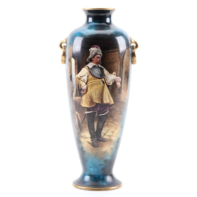 Royal Bonn Porcelain Vase with Cavalier, Late 19th/Early 20th Century