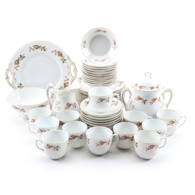 French Limoges Thistle Decorated Porcelain Dinnerware, Late 19th/Early 20th C.