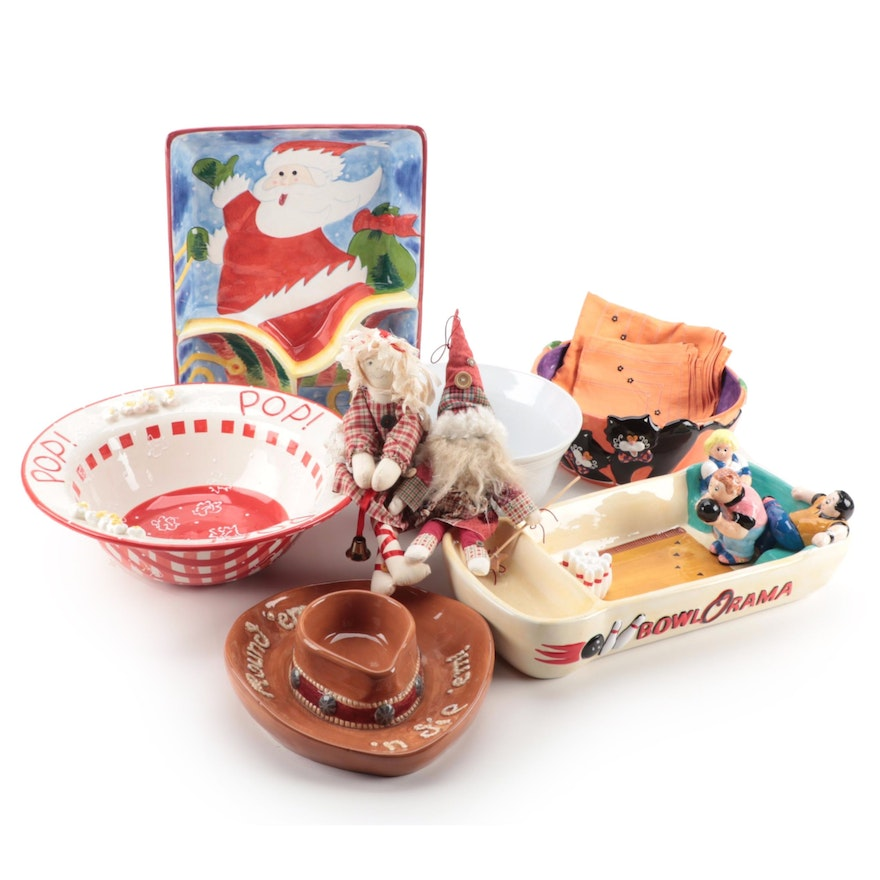 Patti Cappell and Other Ceramic Holiday and Novelty Serveware and Tableware