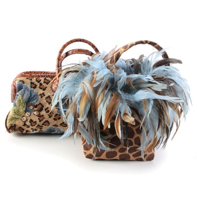 Clever Carriage Company Floral Doctor Bag with Other Feathered Animal Print Bag