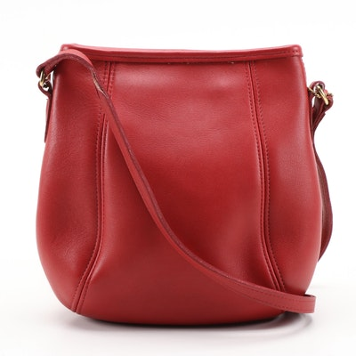 Coach Red Leather Crossbody Saddle Bag