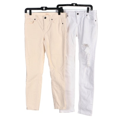Forever 21 Distressed Skinny Jeans and J. Crew Ivory Toothpick Corduroys