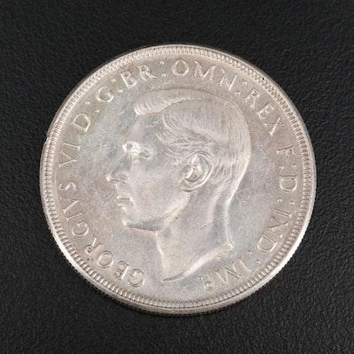 1937 Australian Silver One Crown Coin