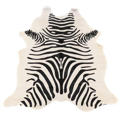 6'0 x 6'9 Zebra Print Cowhide Area Rug