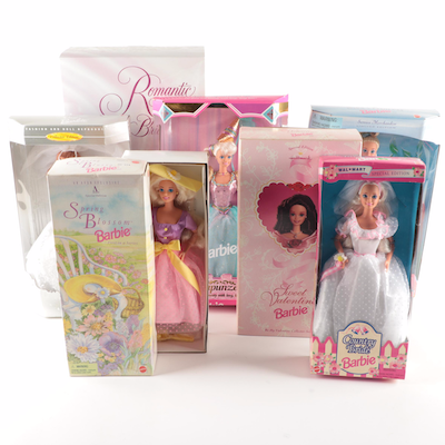 "Mattel ""Romantic Rose Bride Barbie"" and Other Barbie Dolls"