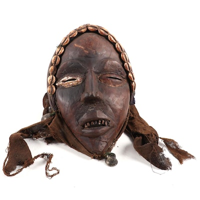 "Dan Style ""Glengle"" Wooden Mask with Embellishments, West Africa"
