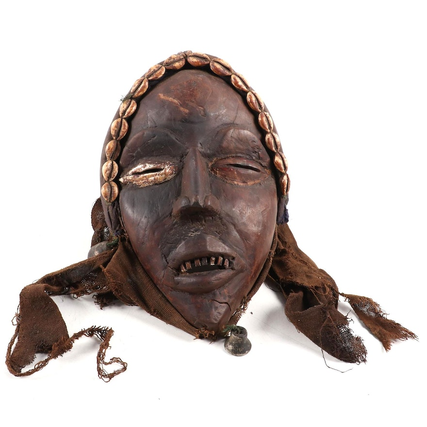 """Dan Style """"Glengle"""" Wooden Mask with Embellishments, West Africa"""