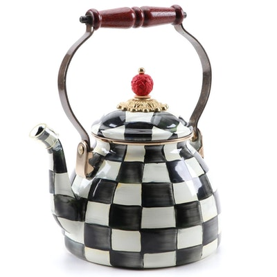 "MacKenzie-Childs ""Courtly Check"" Enameled Metal Tea Kettle"