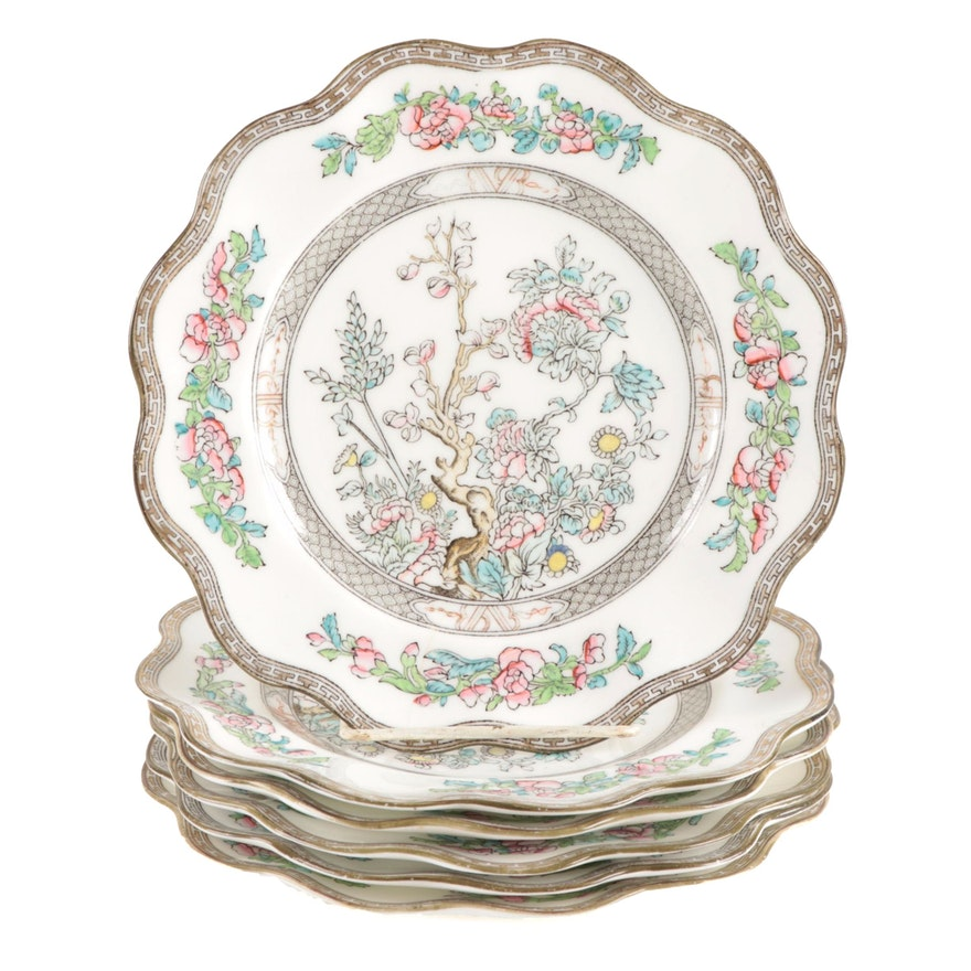"""Coalport """"Indian Tree"""" Bone China Luncheon Plates, Late 19th/Early 20th Century"""