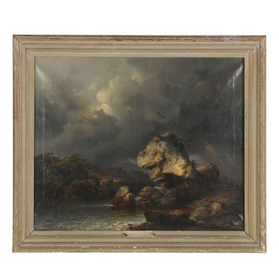 """Pieter Lodewyk Kuhnen Landscape Oil Painting """"Stormy Inlet,"""" Mid-19th Century"""