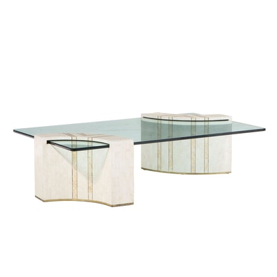 Casa Bique Tessellated Stone and Tempered Glass Coffee Table, 1980s