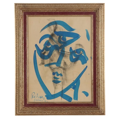 Peter Keil Abstract Mixed Media Portrait Painting, 1975
