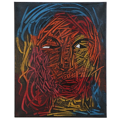 """Abiola Idowu Abstract Portrait Mixed Media Painting """"Manifestation of Favour"""""""