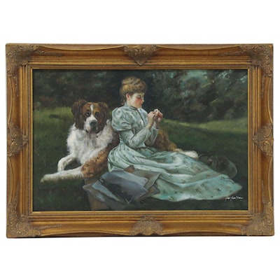 Genre Oil Painting of Young Woman with St. Bernard, Late 20th Century
