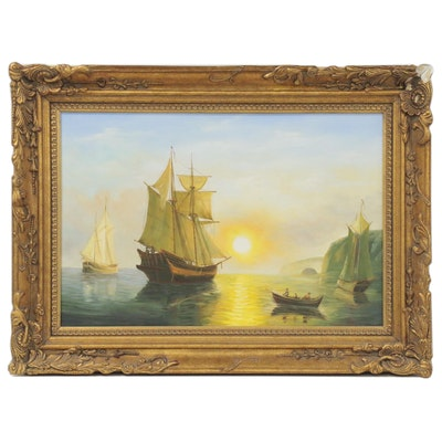 """Nautical Oil Painting """"Sunset Calm in the Bay of Fundy,"""" circa 2000"""