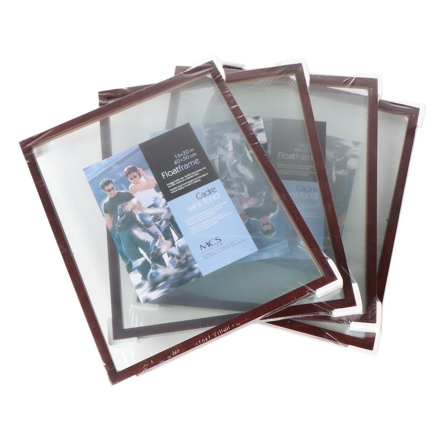 """Four Walnut Wood 16"""" x 20"""" Floating Frames"""