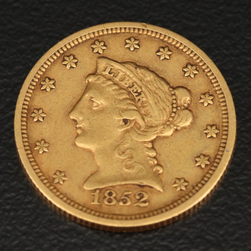 1852 Liberty Head $2.50 Quarter Eagle Gold Coin