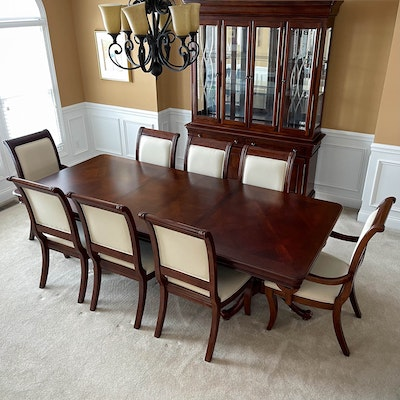 Nine-Piece Universal Furniture Cherrywood-Stained Dining Set