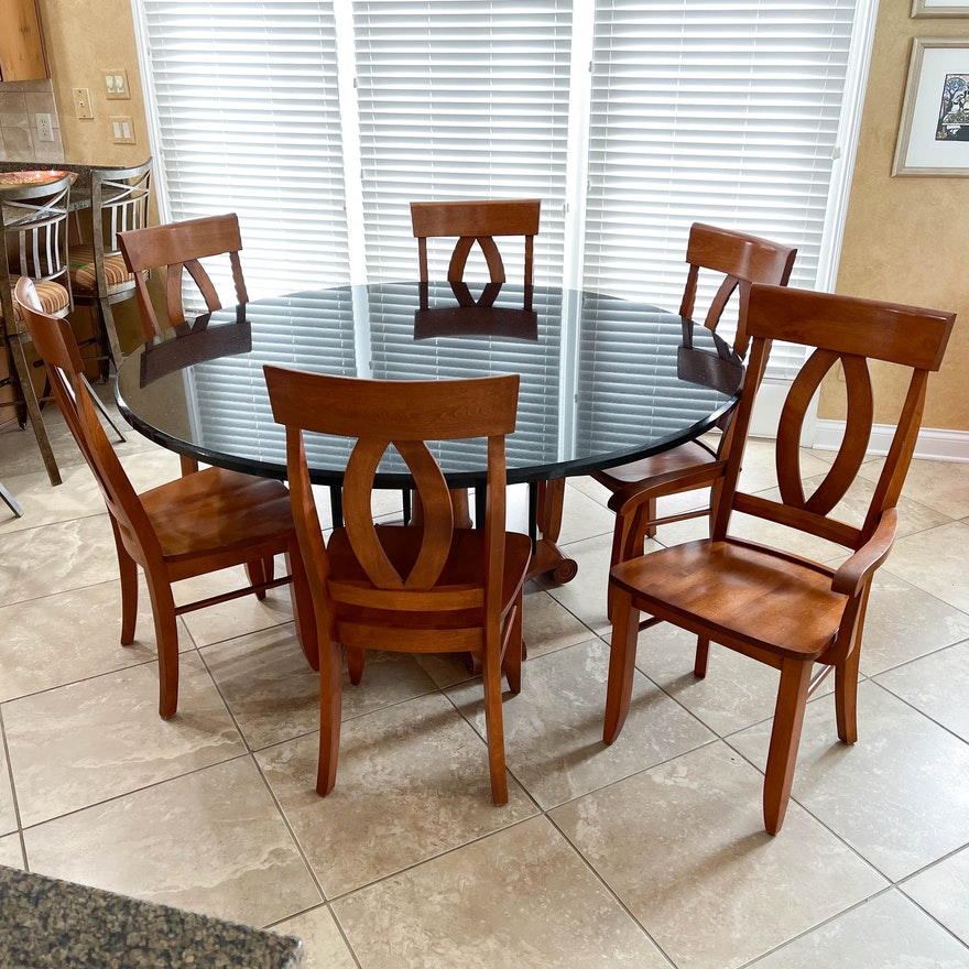 Seven-Piece Biedermeier Style Fruitwood-Stained Dining Set