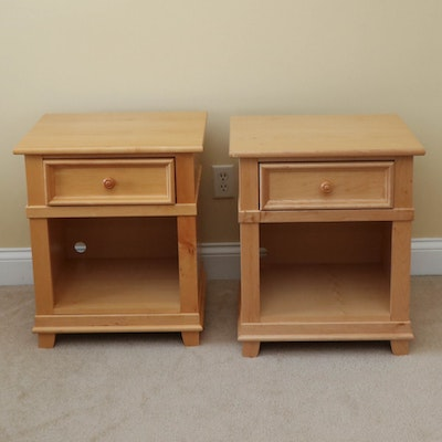 "Pair of Stanley Furniture ""Young America"" Maple Nightstands"