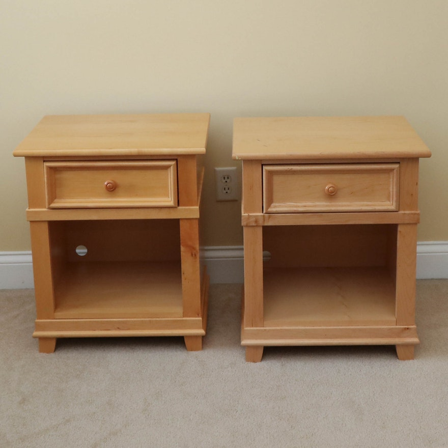 """Pair of Stanley Furniture """"Young America"""" Maple Nightstands"""