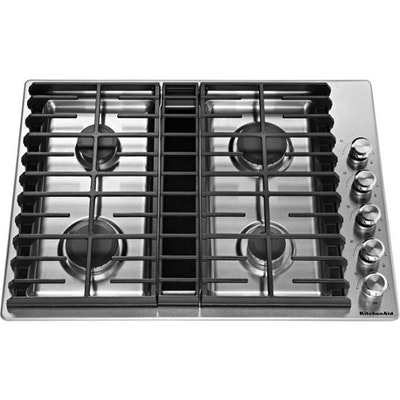 "KitchenAid Stainless Steel 30"" Four Burner Gas Cooktop"