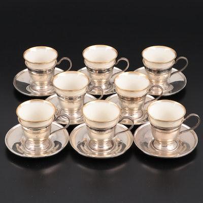 S. Kirk & Son Sterling Silver Demitasse Zarfs with Lenox Porcelain Inserts