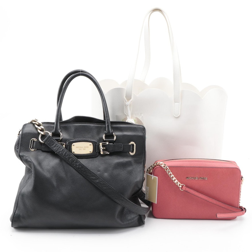 MICHAEL Michael Kors Crossbody Bag and Black Tote with White Scalloped Tote