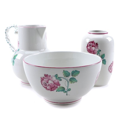 "Tiffany & Co. ""Strasbourg Flowers"" Serving Bowl, Pitcher, and Vase"