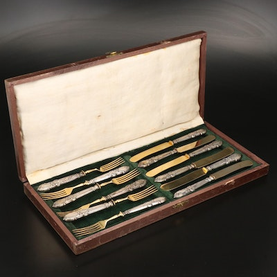 Gold Washed 850 Silver Handled Dessert Knives and Forks in Presentation Box