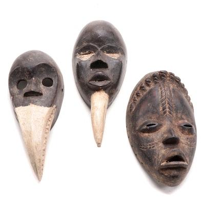 Dan Inspired Wooden Masks, West Africa