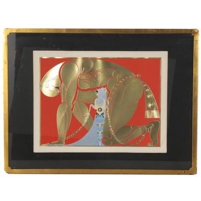 """Erté Serigraph with Foil Stamping """"Samson and Delilah,"""" 1980"""