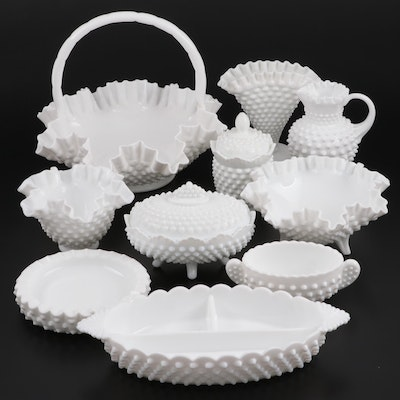 Hobnail Milk Glass Tableware and Décor Including Fenton, Mid to Late 20th C