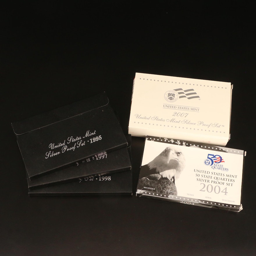 Five U.S. Mint Silver Proof Sets, 1995–2007