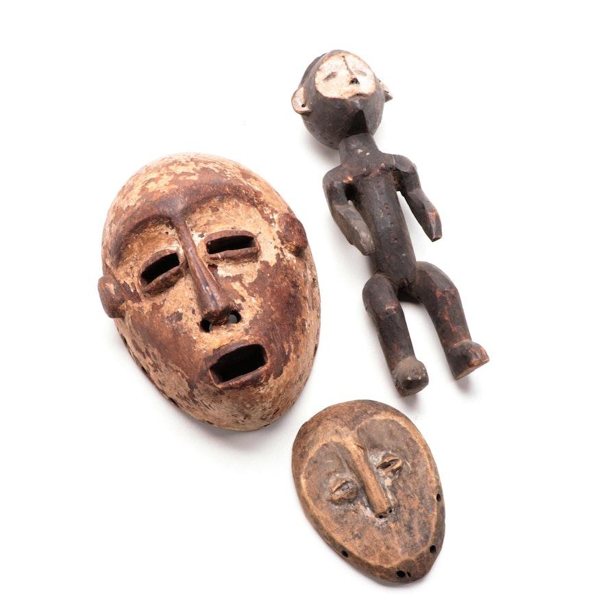 Lega Inspired Wooden Mask with Sukuma Inspired Mask and Ngbaka Style Figure