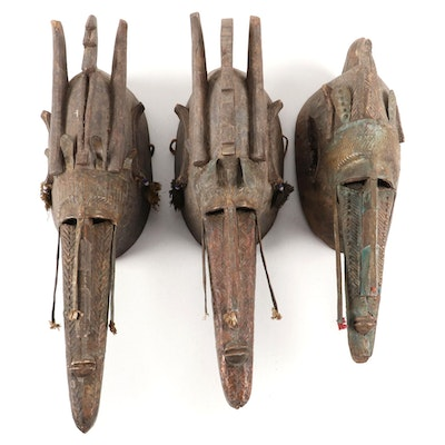 Bamana Hand-Carved Wood Marka Masks, Mali