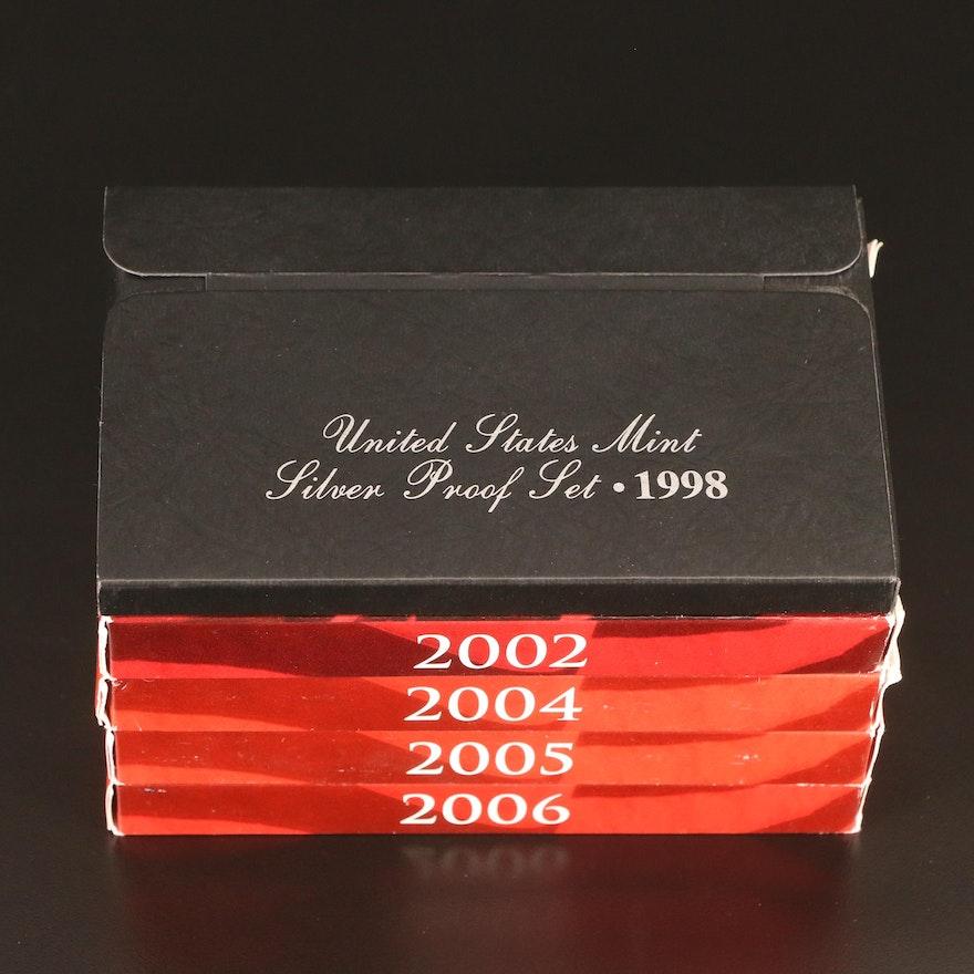 Five U.S. Mint Silver Proof Sets, 1998–2006
