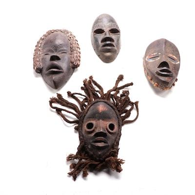Dan Inspired Handcrafted Wooden Masks, West Africa