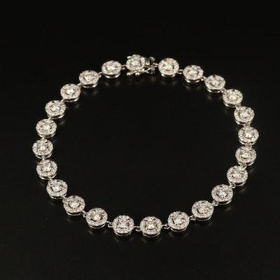 Platinum 4.08 CTW Diamond Circular Link Bracelet