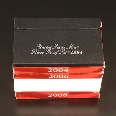 Five U.S. Mint Silver Proof Sets, 1994–2008