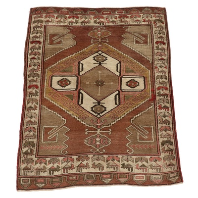 4'8 x 6'2 Hand-Knotted Turkish Village Area Rug
